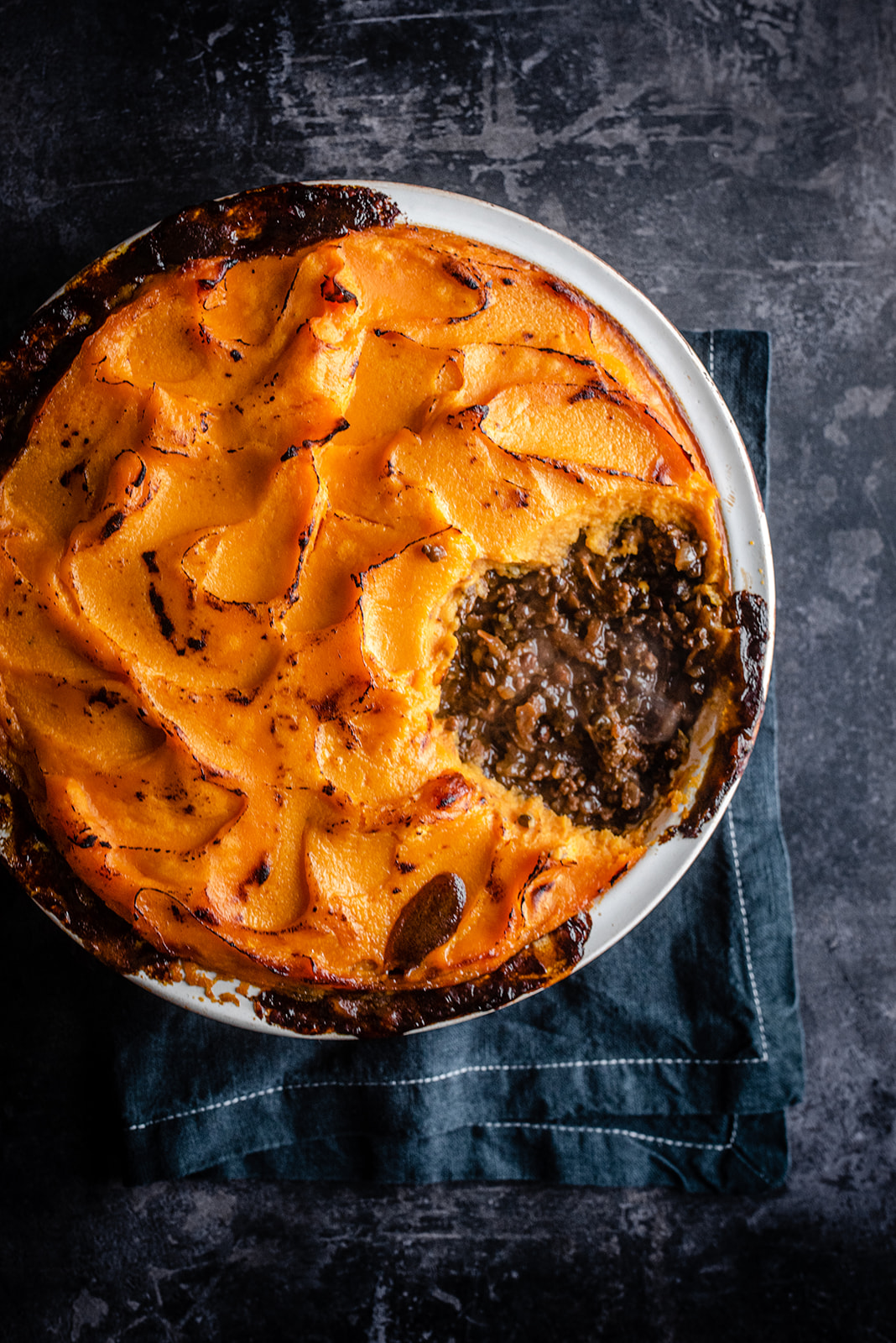 Cottage Pie With Lentils and Sweet Potato Mash Topping